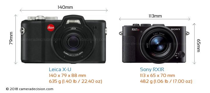 Leica X-U vs Sony RX1R Camera Size Comparison - Front View