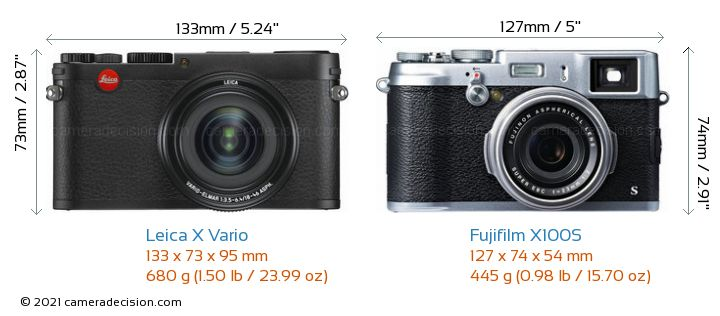 Leica X Vario vs Fujifilm X100S Camera Size Comparison - Front View