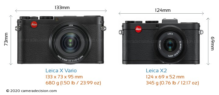 Leica X Vario vs Leica X2 Camera Size Comparison - Front View