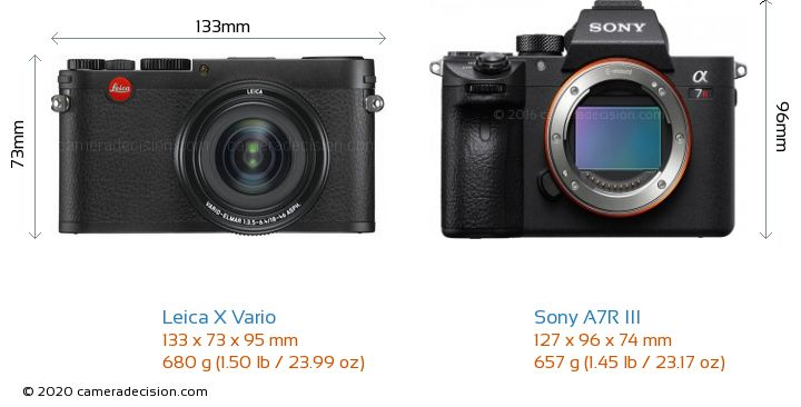 Leica X Vario vs Sony A7R III Camera Size Comparison - Front View