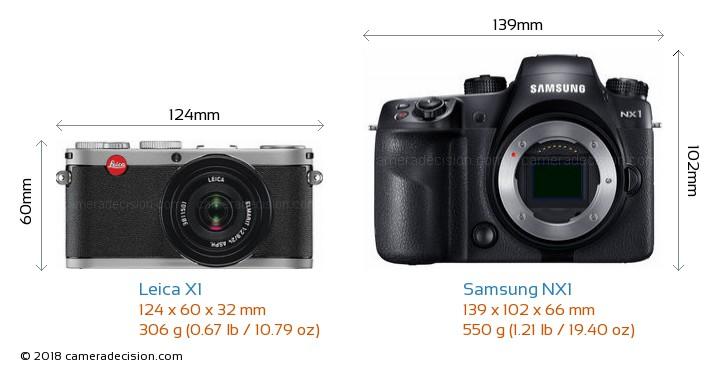 Leica X1 vs Samsung NX1 Camera Size Comparison - Front View