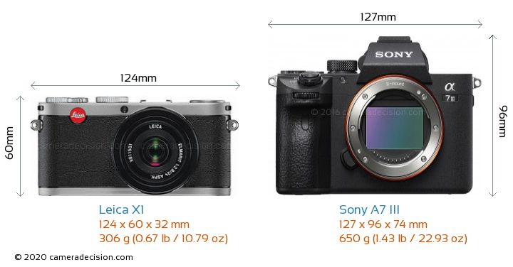 Leica X1 vs Sony A7 III Camera Size Comparison - Front View