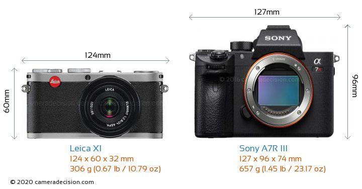 Leica X1 vs Sony A7R III Camera Size Comparison - Front View