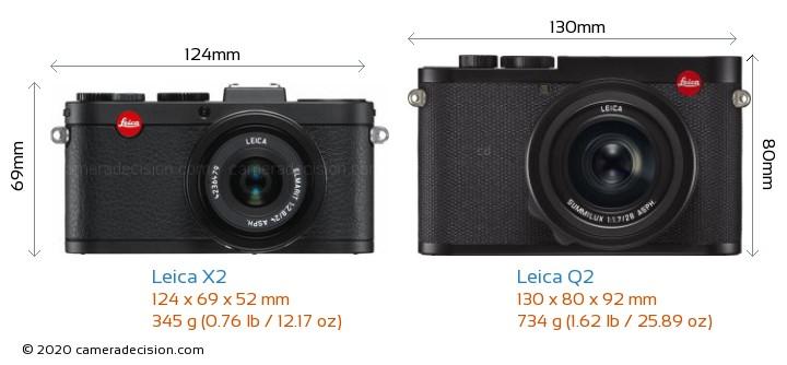 Leica X2 vs Leica Q2 Camera Size Comparison - Front View