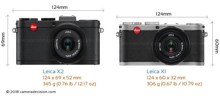 Leica X2 vs Leica X1 Camera Size Comparison - Front View