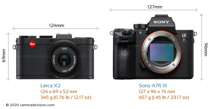 Leica X2 vs Sony A7R III Camera Size Comparison - Front View