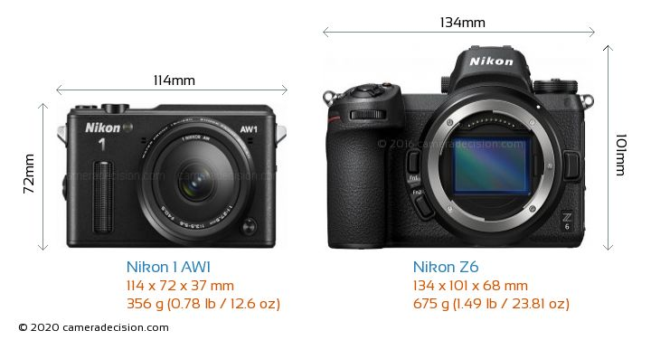 Nikon 1 AW1 vs Nikon Z6 Camera Size Comparison - Front View