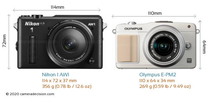 Nikon 1 AW1 vs Olympus E-PM2 Camera Size Comparison - Front View