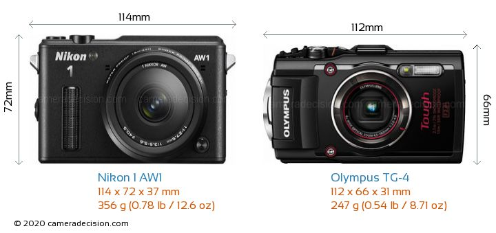 Nikon 1 AW1 vs Olympus TG-4 Camera Size Comparison - Front View