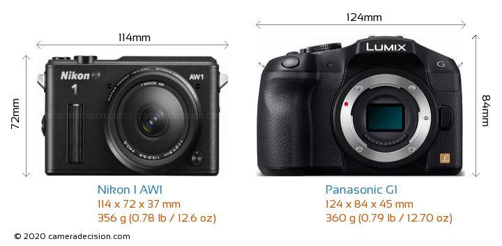 Nikon 1 AW1 vs Panasonic G1 Camera Size Comparison - Front View