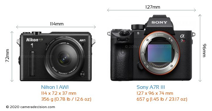 Nikon 1 AW1 vs Sony A7R III Camera Size Comparison - Front View