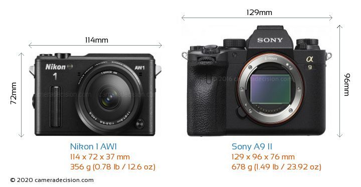 Nikon 1 AW1 vs Sony A9 II Camera Size Comparison - Front View