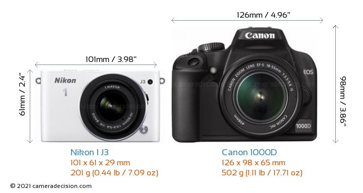 Nikon 1 J3 vs Canon 1000D Camera Size Comparison - Front View