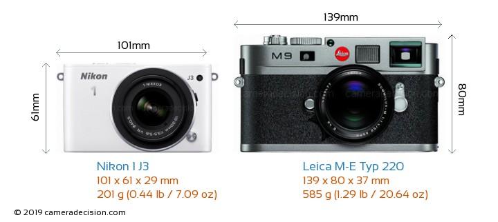 Nikon 1 J3 vs Leica M-E Typ 220 Camera Size Comparison - Front View