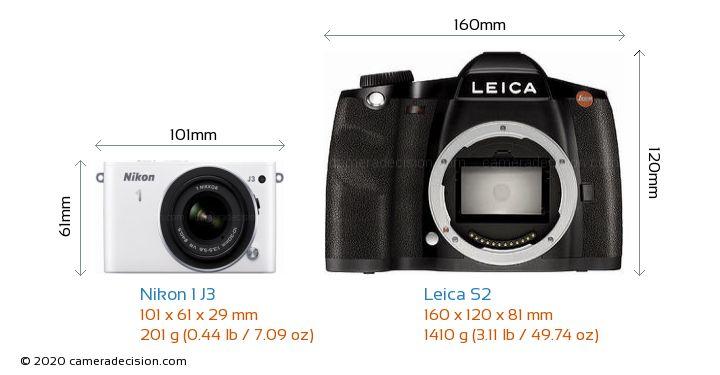 Nikon 1 J3 vs Leica S2 Camera Size Comparison - Front View
