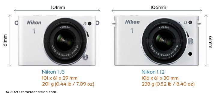 Nikon 1 J3 vs Nikon 1 J2 Camera Size Comparison - Front View