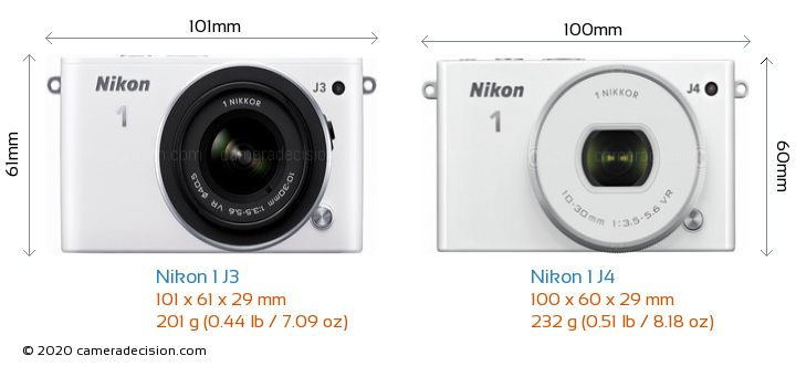 Nikon 1 J3 vs Nikon 1 J4 Camera Size Comparison - Front View