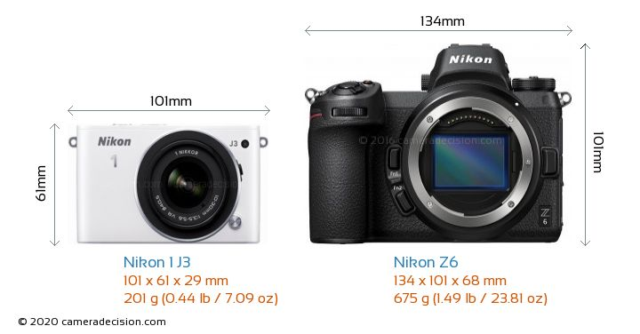 Nikon 1 J3 vs Nikon Z6 Camera Size Comparison - Front View
