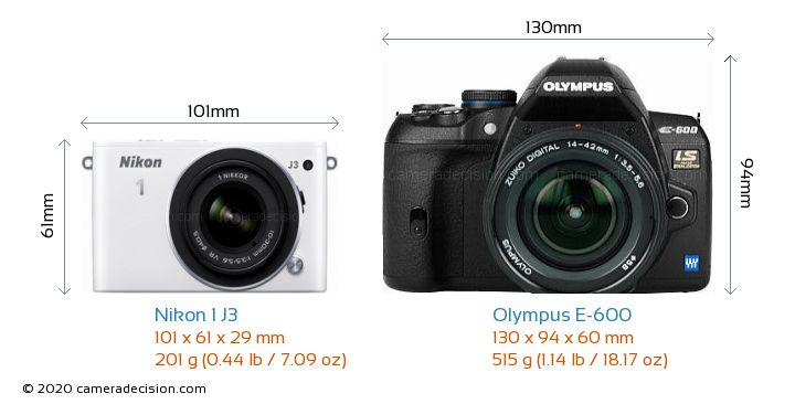 Nikon 1 J3 vs Olympus E-600 Camera Size Comparison - Front View