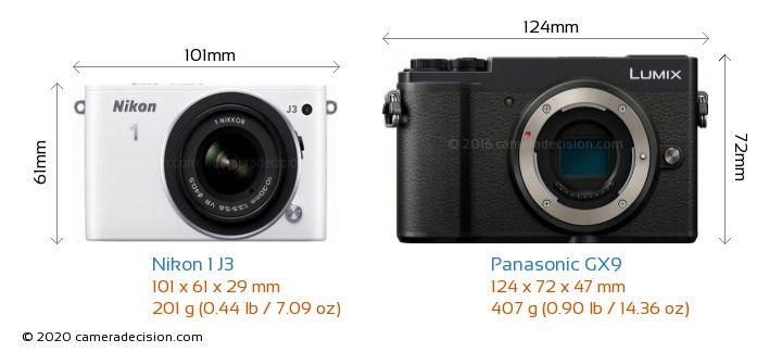 Nikon 1 J3 vs Panasonic GX9 Camera Size Comparison - Front View