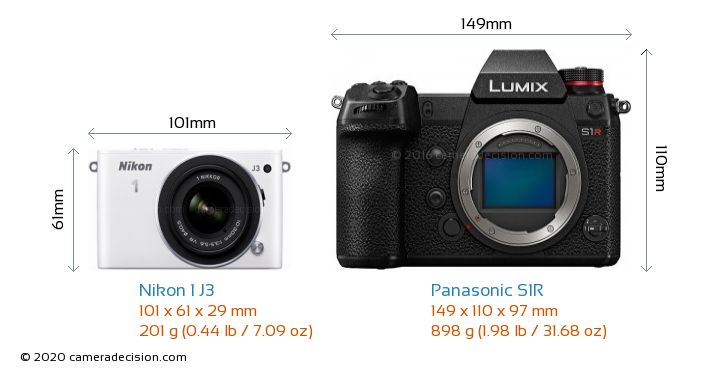 Nikon 1 J3 vs Panasonic S1R Camera Size Comparison - Front View
