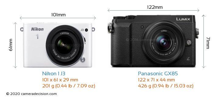 Nikon 1 J3 vs Panasonic GX85 Camera Size Comparison - Front View