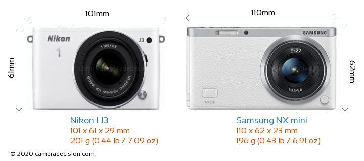 Nikon 1 J3 vs Samsung NX mini Camera Size Comparison - Front View