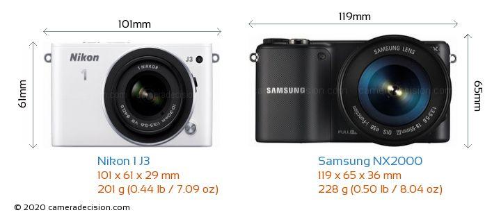 Nikon 1 J3 vs Samsung NX2000 Camera Size Comparison - Front View