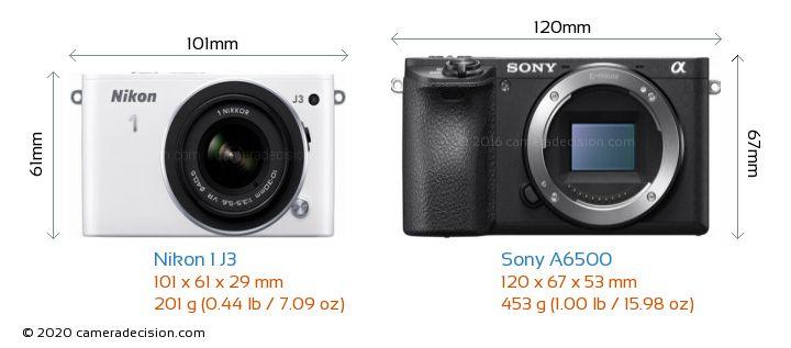 Nikon 1 J3 vs Sony A6500 Camera Size Comparison - Front View