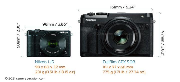 Nikon 1 J5 vs Fujifilm GFX 50R Camera Size Comparison - Front View