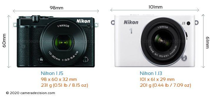 Nikon 1 J5 vs Nikon 1 J3 Camera Size Comparison - Front View