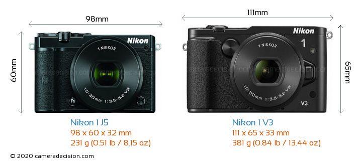 Nikon 1 J5 vs Nikon 1 V3 Camera Size Comparison - Front View