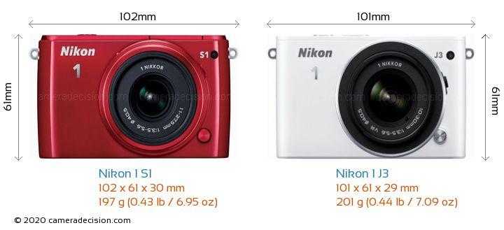 Nikon 1 S1 vs Nikon 1 J3 Camera Size Comparison - Front View