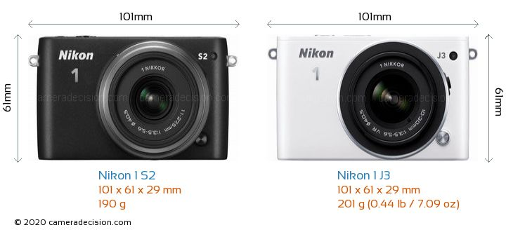Nikon 1 S2 vs Nikon 1 J3 Camera Size Comparison - Front View