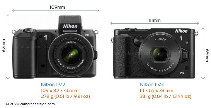 Nikon 1 V2 vs Nikon 1 V3 Camera Size Comparison - Front View