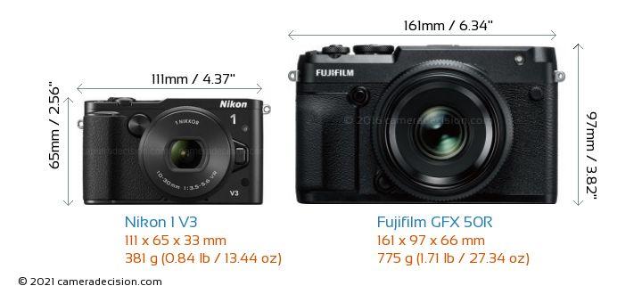Nikon 1 V3 vs Fujifilm GFX 50R Camera Size Comparison - Front View