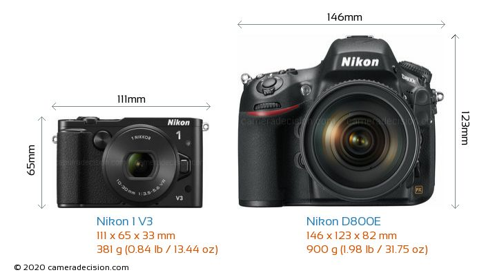 Nikon 1 V3 vs Nikon D800E Camera Size Comparison - Front View