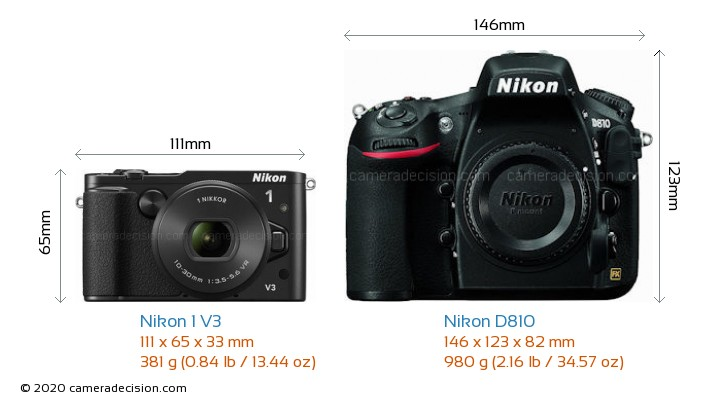 Nikon 1 V3 vs Nikon D810 Camera Size Comparison - Front View