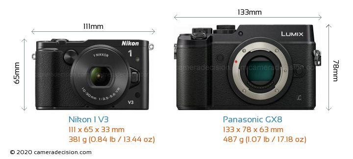 Nikon 1 V3 vs Panasonic GX8 Camera Size Comparison - Front View