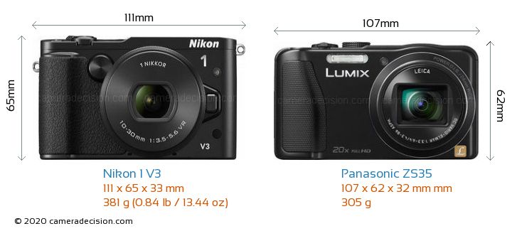 Nikon 1 V3 vs Panasonic ZS35 Camera Size Comparison - Front View