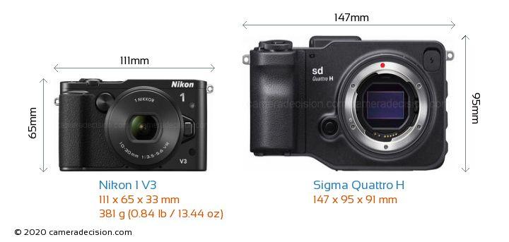 Nikon 1 V3 vs Sigma Quattro H Camera Size Comparison - Front View