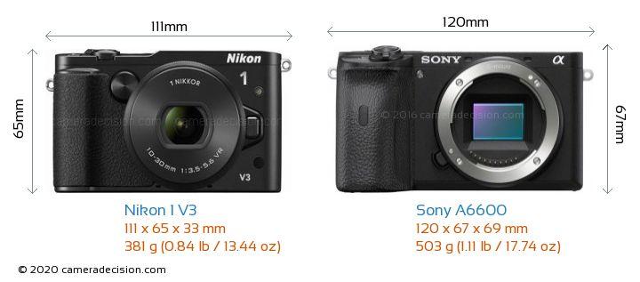 Nikon 1 V3 vs Sony A6600 Camera Size Comparison - Front View