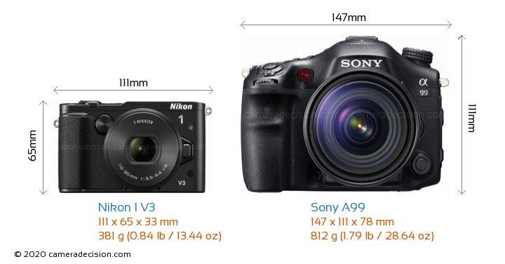 Nikon 1 V3 vs Sony A99 Camera Size Comparison - Front View
