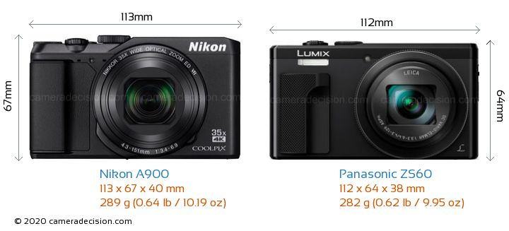 Nikon A900 vs Panasonic ZS60 Camera Size Comparison - Front View