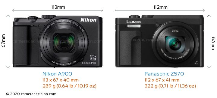 Nikon A900 vs Panasonic ZS70 Camera Size Comparison - Front View