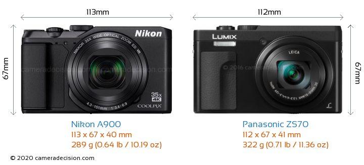 Nikon A900 vs Panasonic ZS70 Camera Size Comparison - Front View