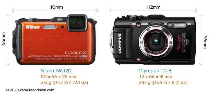 Nikon AW120 vs Olympus TG-3 Camera Size Comparison - Front View