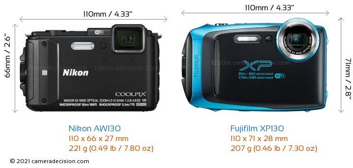 Nikon AW130 vs Fujifilm XP130 Camera Size Comparison - Front View