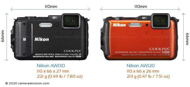 Nikon AW130 vs Nikon AW120 Camera Size Comparison - Front View