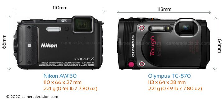 Nikon AW130 vs Olympus TG-870 Camera Size Comparison - Front View